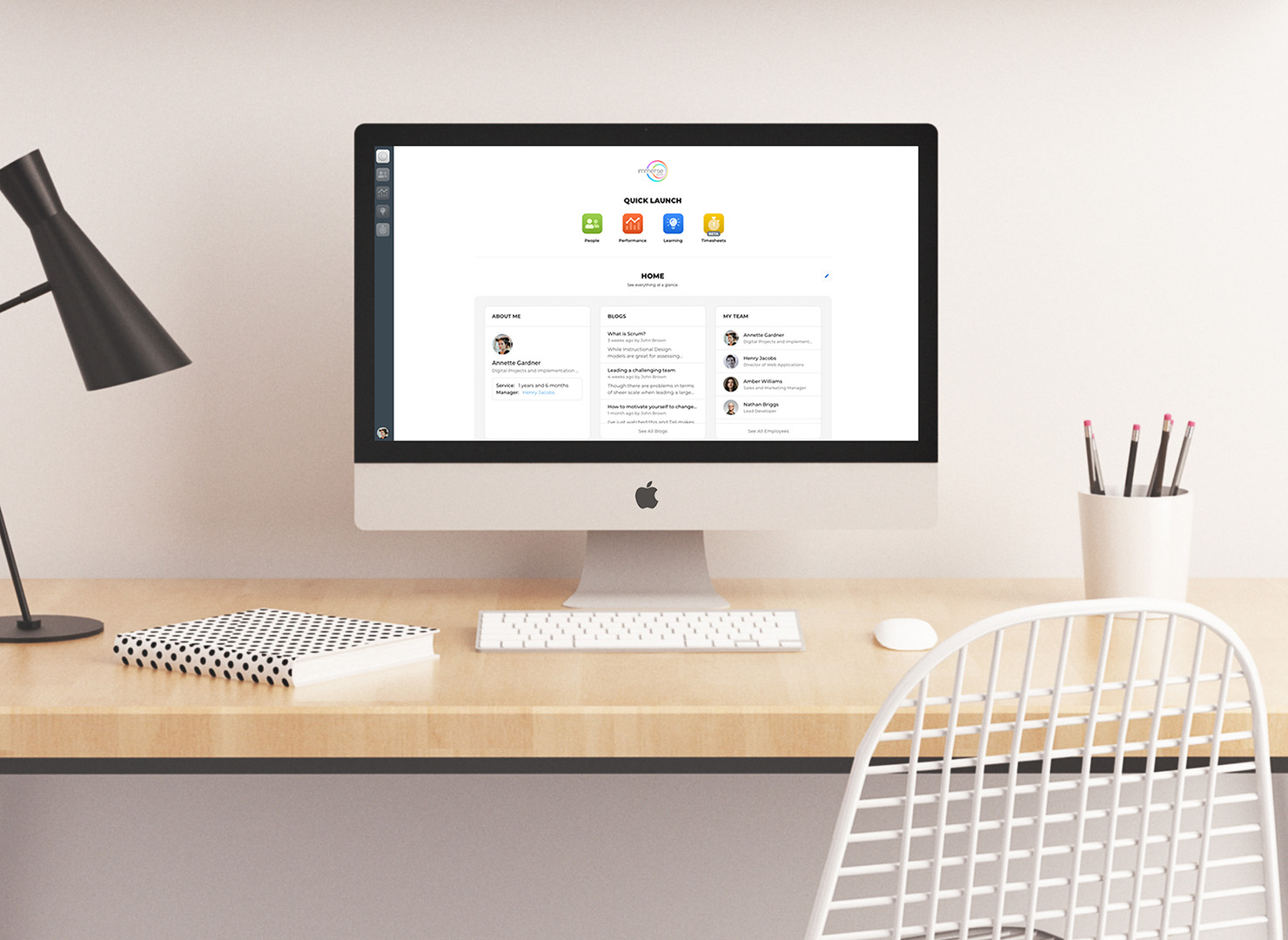 The Immerse Works Start page shown on an iMac.